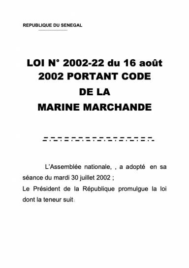 Loi n°2002-22 du 16 août 2002 portant code de la marine marchande-1