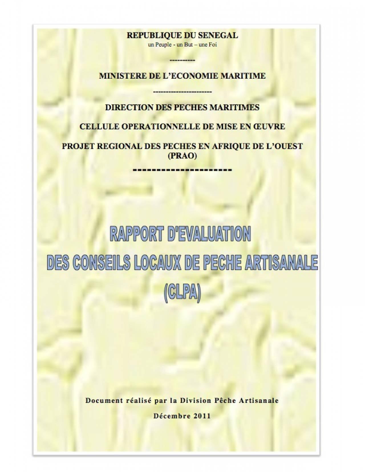Rapport d'évaluation des Conseils Locaux de Pêche Artisanale (CLPA)